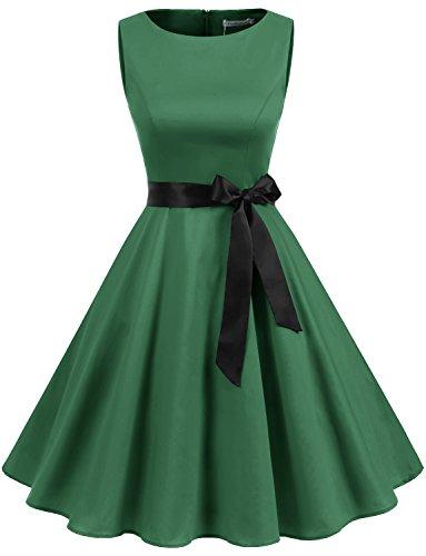 Gardenwed Damen Vintage 1950er Partykleid Rockabilly Ärmellos Retro CocktailKleid Green 2XL