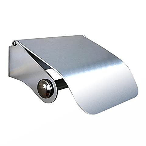 Rustproof Wall Mounted Bathroom Holder Space Aluminum Toilet Paper Roll Holder Tissue Rack with Cover Fitting 3M Self Adhesive Free Drilling Optional