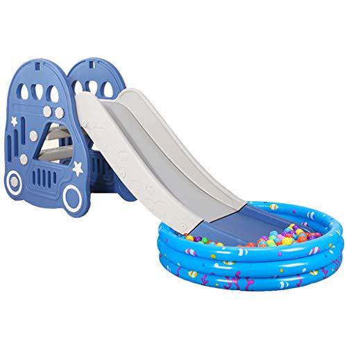 Zhangbangqiangshop Kinderrutsche Lange verdickung rutsche Indoor Kinder Kunststoff Spielzeug rutsche Hause Baby rutsche (mit Ball Pool) (Color : Blue, Size : 175 * 81CM)