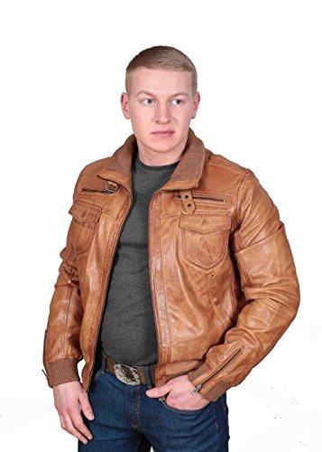Herren Gepaßte Bomber Lederjacke Designer weiche hochwertige Mantel George hellbraun - 4