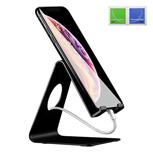 ELZO Handy Halterung Handyhalter - Handy Ständer - Aluminium Halter, Phone Ständer für iPhone XS Max, XS, XR, X, 8, 7, 6s 6 Plus, Samsung S7 S8, Huawei, Tisch Zubehör, Schreibtisch, andere Smartphone - 6 Plus Zubehör