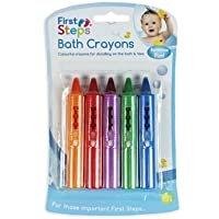 First Steps Pack of 5 Baby Bath Crayons for Fun in Bath - Non Toxic Bath Toys