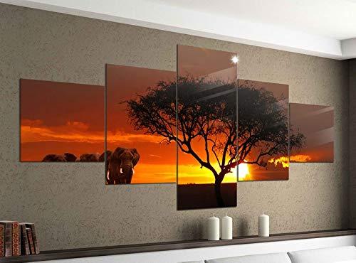Acrylglasbilder 5 Teilig 200x100cm Afrika Savanne Elefanten Safari Baum Druck Acrylbild Acryl Acrylglas Bilder Bild 14F661