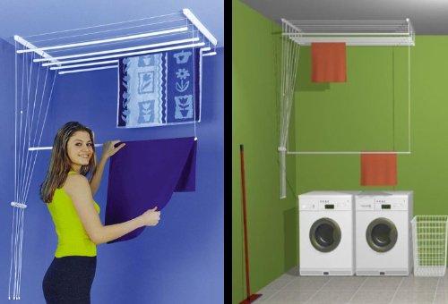 étendoir à linge suspendu au plafond ETEND'MIEUX® 7 barres (largeur 59 cm) x 1 m 50, capacité d'étendage 10m50