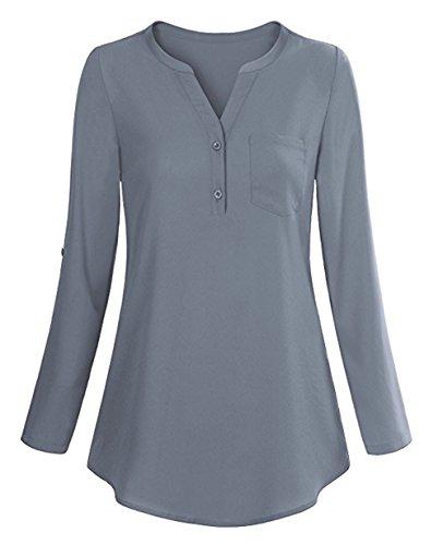 ELFIN Damen V-Ausschnitt Freizeit Chiffon Bluse Schlupfbluse Elegant Langarm Hemdbluse Tunika Tops Oberteil mit Brusttasche Blau & Grau