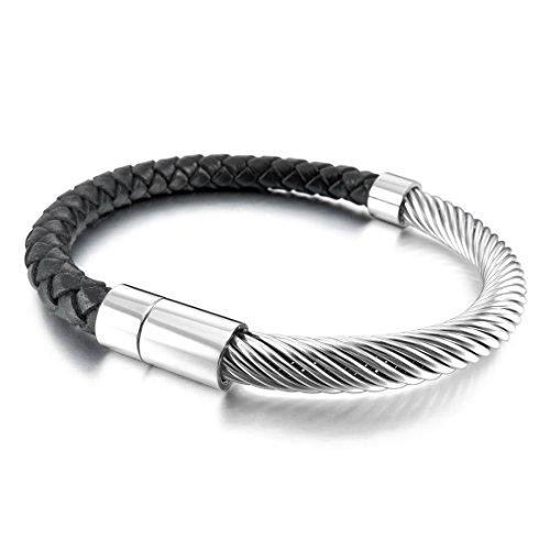 Inblue Damen Edelstahl Echtes Leder Armband Armreif Manschette Silber Tone Black Kabel ()