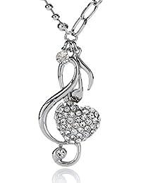 Silvity Damen Herz-Noten-Schlüssel Kette de Luxer 4,5 x 2,4 cm