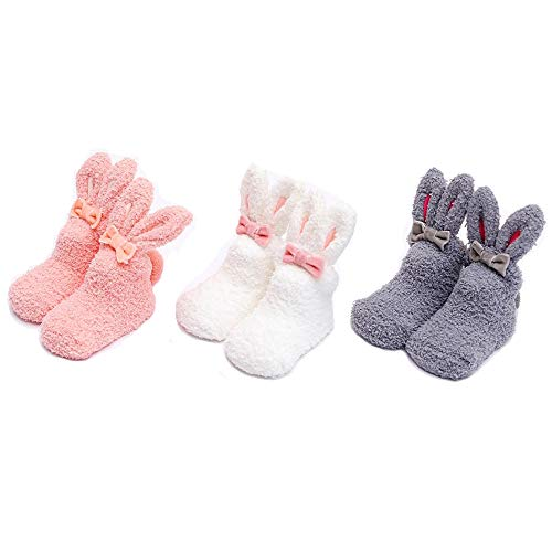 Xinqiao Socken Neugeborenen Infant-Baby Rutschfeste Bootie Für 0-12 12-36 Monate (Klein (0-1 Jahre), WPG 3 Paar) -