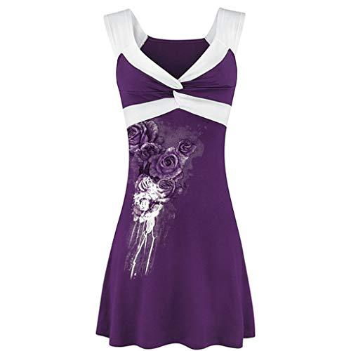 Damen T Shirt, CixNy Bluse Damen V-Ausschnitt Ärmellos Kurzarm Druck Kreuz Weste Sommer Pullover Oberteil Tops (Lila, Size:L4/EU:48)