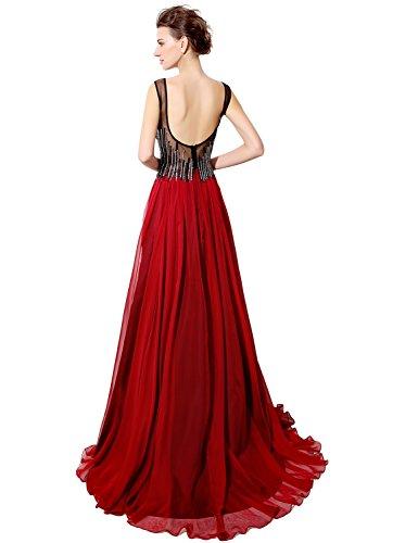 Sarahbridal Damen Lang Chiffon Abendkleider Perspektive Ausschnitt  Paillette Partykleider Ballkleid SLX025 Fushcia ...