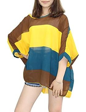 Camisetas y tops - Dizoe Blusas y Camisas Mujer Estampadas Flores Caftan Playa Gasa Tallas Grandes
