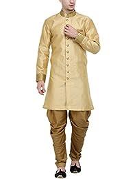 RG Designers Beige And Gold Plain Sherwani For Men