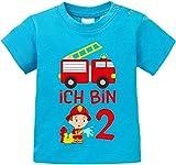 EZYshirt Kinder Feuerwehrauto 2. Geburtstag Jungen T-Shirt Baby Bio Baumwolle