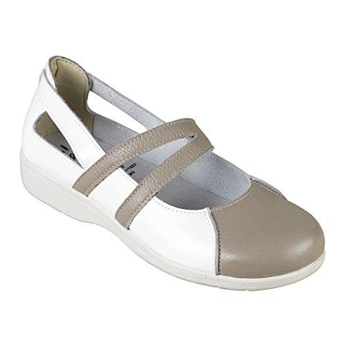 Ainhoa - Ballerine en cuir pour femme, sans embout ISO EN 20347 (BLANC/PRUNILLE, BLANC/PERLE) BLANC/PERLE