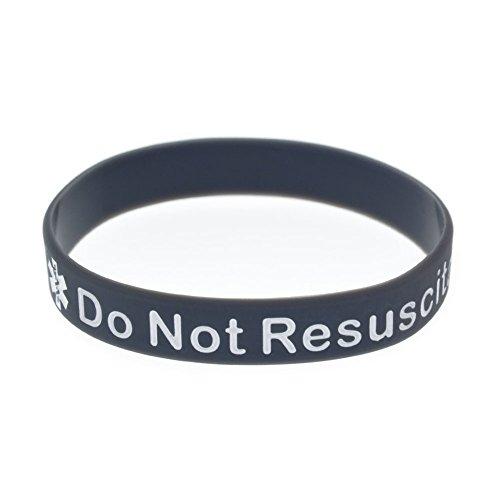 LiFashion LF Silikonkautschuk Kette Medical DNR Armband Gesundheit Alarm Monitoring Systeme Notfall Manschette Wrap Armband für Männer Frauen Kinder,Reuscitate nicht (Warnung System Alarm)
