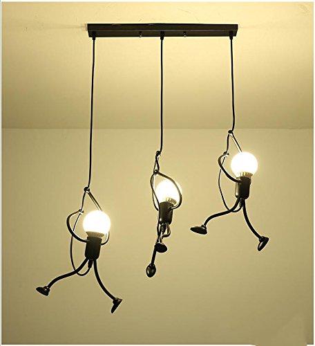 QAZSE Moderner Bello Licht Pendel Kreativ Eisen 3 Persone Cartoon Design Hängelampe für Kinder Schlafzimmer Brustwarzen Studio Carina Deckenlampe E27 -