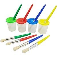 Smallones 4 pièces pas de déversement tasse de peinture et pinceaux peinture enfant coloré Brosses de Peinture