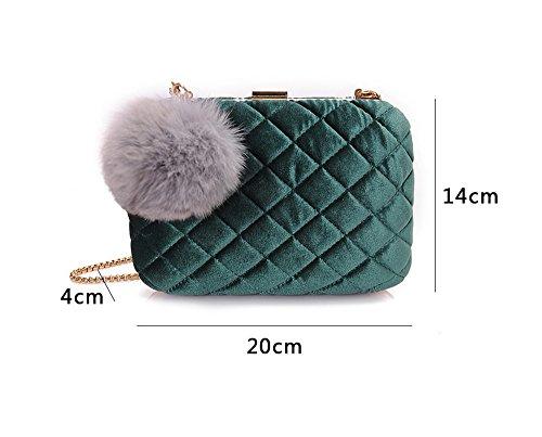 Damen-Tasche, Abendtasche, Paket, Mode-Diagonal-Bankett-Tasche, Haarkugel-Kupplung, Handtasche ( Farbe : Braun ) Rot