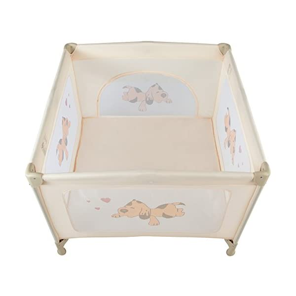 TecTake Portable Child Baby Infant Playpen Travel Cot Bed Crawl Play Area new beige TecTake Only the best for my baby: Our high-quality manufactured baby playpen is excellently suited to play, crawl around and to sleep. // Total dimensions: (LxWxH): 105 x 105 x 78 cm. As it is especially space-savingly collapsible, you won't only use it at home but also when travelling. // Dimensions collapsed (LxWxH): approx. 94 x 20 x 20 cm. The side elements are furnished with breathable mesh-textures, so that you can always keep an eye on your little darling. In addition, the playpen has a padded sleep mat and thus serves as a small travel cot. 2
