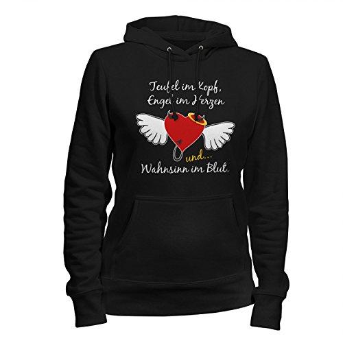 Fashionalarm Damen Kapuzen Pullover - Teufel Engel Wahnsinn | Fun Hoodie mit lustigem Spruch & Motiv Herz mit Flügel als Geschenk Idee für Frauen, (Und Engel Flügel Teufel)