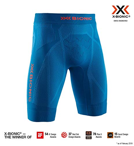 x-bionic the trick 4.0 run shorts men, uomo, teal blue/kurkuma orange, m