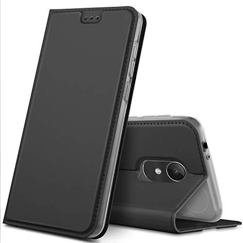 GeeMai Alcatel 3L Hülle, Premium Alcatel 3L Leder Hülle Flip Case Tasche Cover Hüllen mit Magnetverschluss [Standfunktion] Schutzhülle handyhüllen für Alcatel 3L Smartphone, Schwarz
