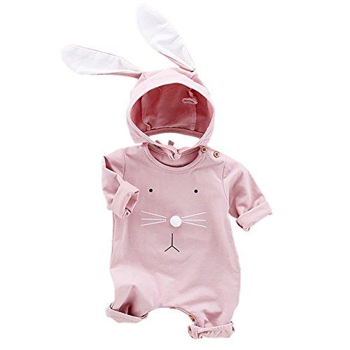 Baywell Baby Jungen Mädchen Overall, Cartoon Kaninchen Muster Niedlich Strampler Baby Onesie + Hut für 3-24 Monate (73/6-12Monat, Rosa)