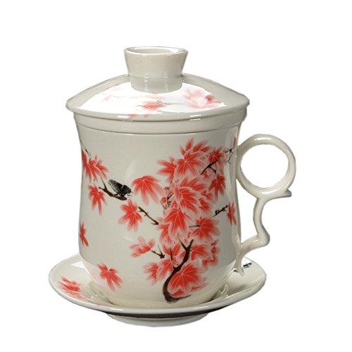 ufengke-ts Tasse À Thé Chinois Motifs de Feuille Rouge, Jingdezhen Faite Main Tasse À Thé en Porcelaine, avec Filtrer, Couvercle et Soucoupe, pour Cadeau, Ménage, 300Ml