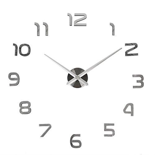 Orologio da parete soledi orologio parete adesivo 3d decorazione per casa ufficio hotel ristorante fai da te riempire vuoto parete 3d orologio (argento e nero)