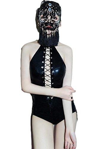 NEIYI Frauen Sexy Leder Dessous Siam Kostüm Catwoman Latex Catsuit PVC Body Overall Kleid Clubwear, One ()