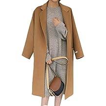 Donna Invernale Risvolto Cappotto Lungo Cappotti Trench Giacca con Cintura  Tinta Unita 19364edb347