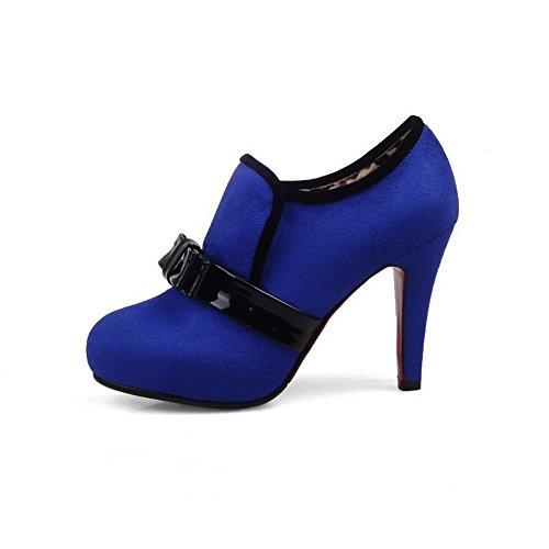 AllhqFashion Damen Hoher Absatz Zweifarbig Rund Zehe Ziehen Auf Stiefel mit Schleife Blau