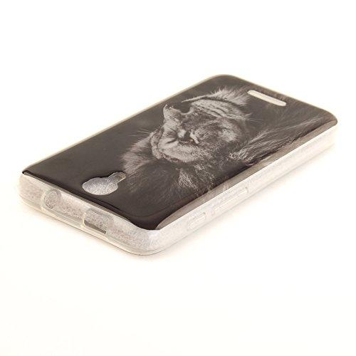 Alcatel Pixi 4 (5 Zoll) hülle,MCHSHOP Ultra Slim Skin Gel TPU hülle weiche Silicone Silikon Schutzhülle Case für Alcatel Pixi 4 (5 Zoll) - 1 Kostenlose Stylus (Schöner Panda) Schwarzer Löwenkopf