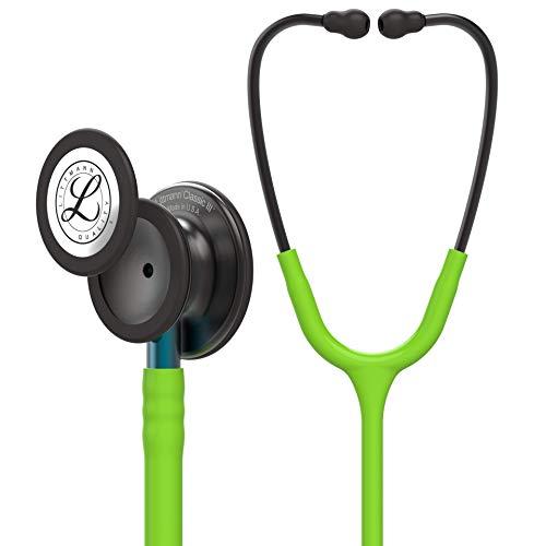 3M Littmann Classic III Stethoskop zur Überwachung, Smoke-Finish Bruststück, limonengrüner Schlauch, blauer Schlauchanschluss und rauchfarbener Ohrbügel, 69cm, 5875
