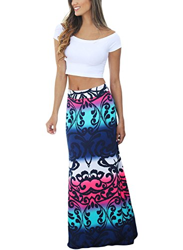DOKOTOO Women Casual Colorful Printed Maxi Skirt for Party