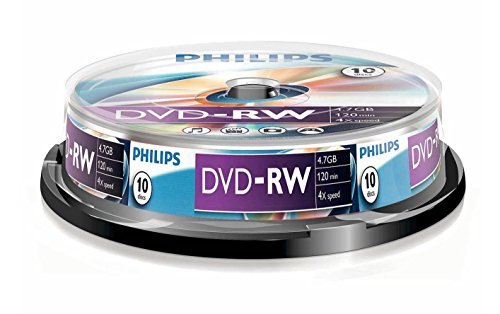 Philips DVD-RW Rohlinge (4.7 GB Data/ 120 Minuten Video, 1-4x Speed Aufnahme, 10er Spindel)