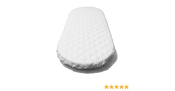 74x30x4cm Hypoallergenic Classic Foam Quilted Moses Basket and Pram Mattress Oval Shaped