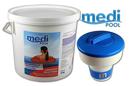 Medipool 507605MP Langzeit MultiTabs 200g, 5KG, Chlor Multifunktionstabletten und Dosierschwimmer für 200gr. Tabletten