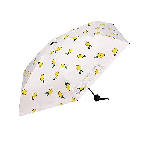 Reise-Regenschirm, Wsobue faltender leichter kompakter windundurchlässiger Regenschirm, Sonnenschirm-Doppelschicht Sunblock UVschutz UPF 50+ (Zitrone) -