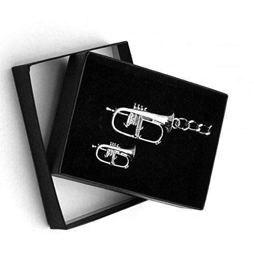 Flugelhorn Schlüsselanhänger & Pin Abzeichen Geschenkset