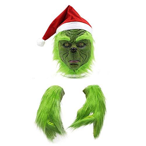 mimisasa Grinch Maske Handschuhe Weihnachts Hut Kostüm Maske Halloween Grusel Maske für Erwachsene Kinder (Maske und Handschuhe)