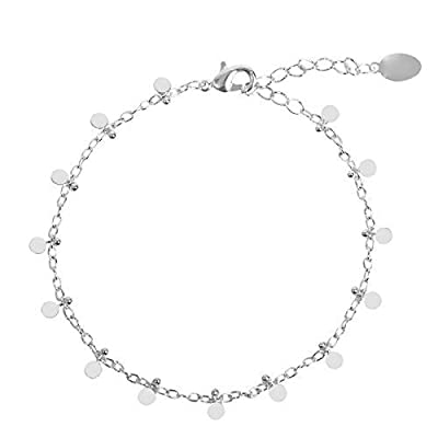 Bracelet Chaîne avec petite Pampilles Breloques Boules Pastilles en Plaqué Or - Argent