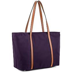 Yaluxe - Mujer Bolso Tote Oxford Nylon Bolso de Hombro Gran Capacidad Violeta con Cinta de Color Caqui