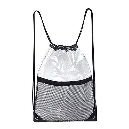 Cinch-kordelzug Schulter Tasche (Klare Kordelzug Tasche Premium PVC Transparent Wasserdicht Umhängetaschen Unisex Clear Cinch Taschen für die Arbeit Sporthalle Stadion)