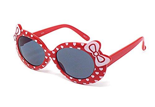 2 x rot farbige Kinder Girls stylish Designer-Stil Sonnenbrille hohe Qualität mit einem Bogen und Herz-Stil UV400 Sonnenbrille Schattierungen UVA (Hello Kostüme Kitty Classic)