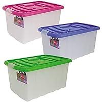 MSV 343 - Caja de almacenaje con ruedas (plástico, 50 L), transparente