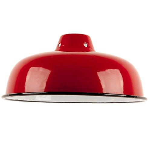 Second Nature ONLINE Industrie Vintage Stil Retro-Schale aus Metall Deckenleuchte Anhänger Licht Schatten, metall, rot, 25.5cm Diameter (Licht Schale)