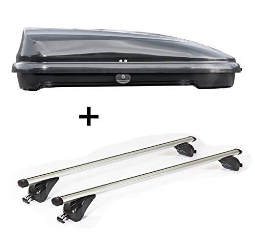 VDP Dachbox VDPFL320 320Ltr schwarz glänzend + Dachträger/Relingträger KING2 kompatibel mit BMW X4 (F26) (5 Türer) ab 14