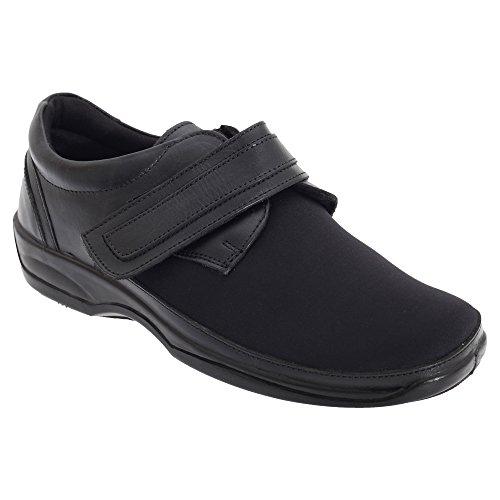 Mod Comfys - Zapatos cómodos elásticos de Ancho Especial para Mujer 42/Negro