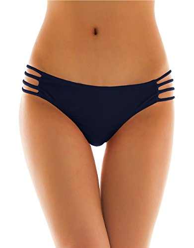 SHEKINI Damen Tanga Bikinihose String Rüschen Sexy Brazilian Bikini Slip Schnüren Höschen (Small, Dunkelblau)